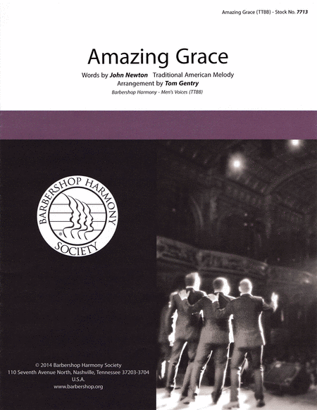 Amazing Grace : TTBB : Tom Gentry : John Newton : Sheet Music : 00141985 : 812817020078