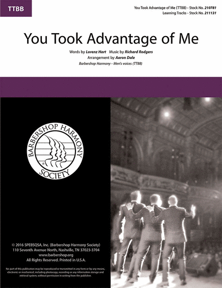 You Took Advantage of Me : TTBB : Aaron Dale : Richard Rodgers : The Crush : Sheet Music : 00218594 : 812817021242