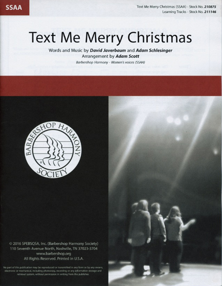 Text Me Merry Christmas : SSAA : Adam Scott : Adam Schlesinger : Kristen Bell : Sheet Music : 00218599 : 812817021204