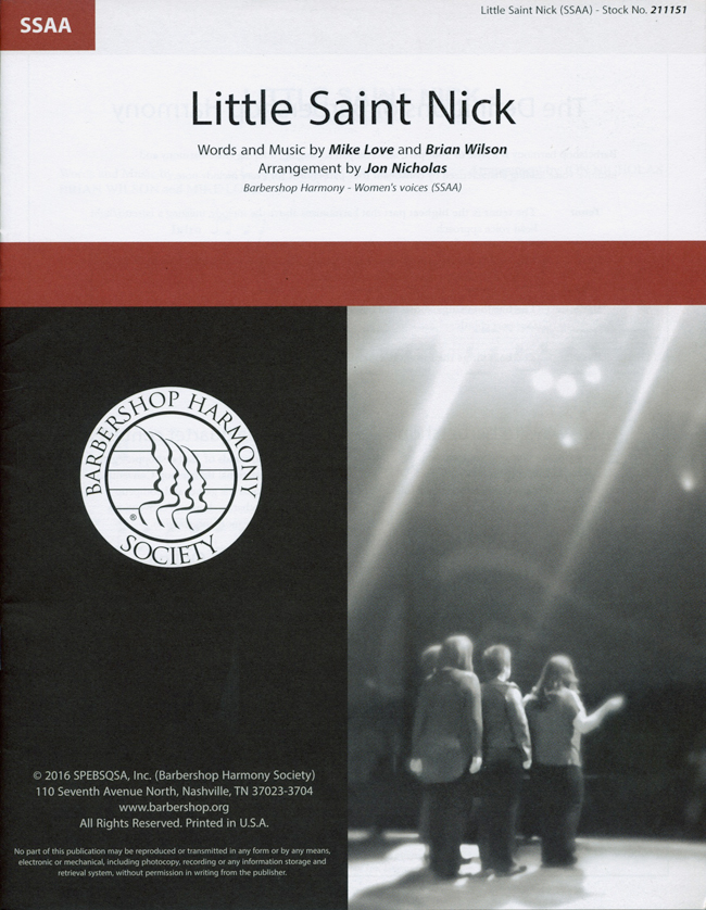 Little Saint Nick : SSAA : Jon Nicholas : Brian Wilson : Sheet Music : 00218600 : 812817021266