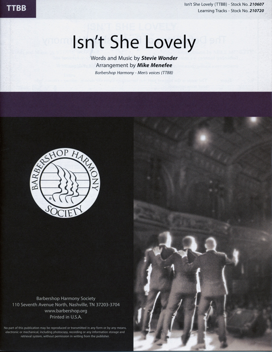 Isn't She Lovely : TTBB : Mike Menefee : Stevie Wonder : Stevie Wonder : Sheet Music : 00234446 : 812817021297