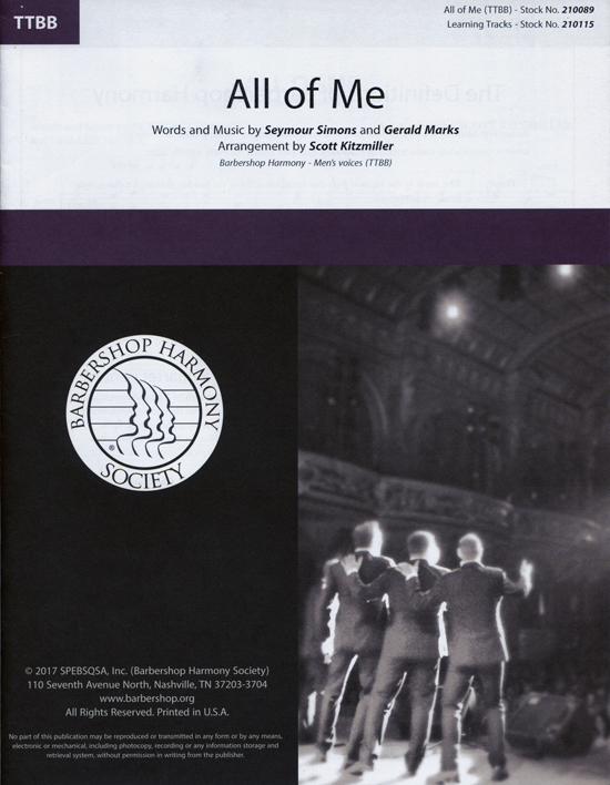 All of Me : TTBB : Scott Kitzmiller : Gerald Marks : Realtime : Sheet Music : 00241382 : 888680703554