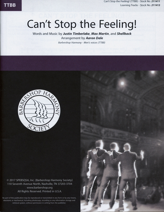 Can't Stop the Feeling! : TTBB : Aaron Dale : Justin Timberlake : Justin Timberlake : Sheet Music : 00241604 : 812817021426