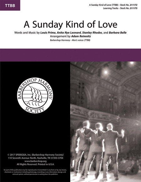 A Sunday Kind of Love : TTBB : Adam Remin : Louis Prima : Reckless : Sheet Music : 00242673 : 888680704957