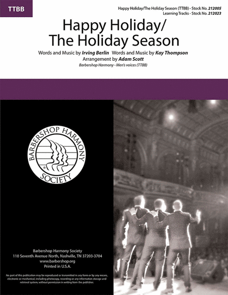 Happy Holiday/The Holiday Season : TTBB : Adam Scott : Kay Thompson : Sheet Music : 00283283 : 812817021556