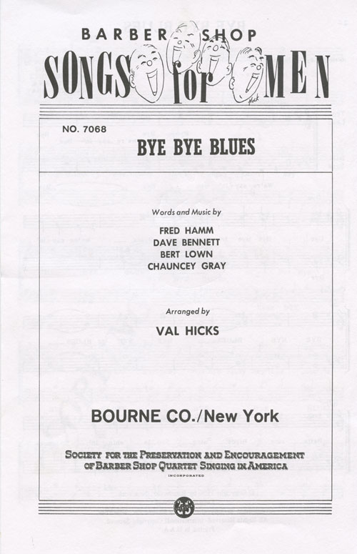 Bye Bye Blues : TTBB : Val Hicks : Sheet Music : 017647