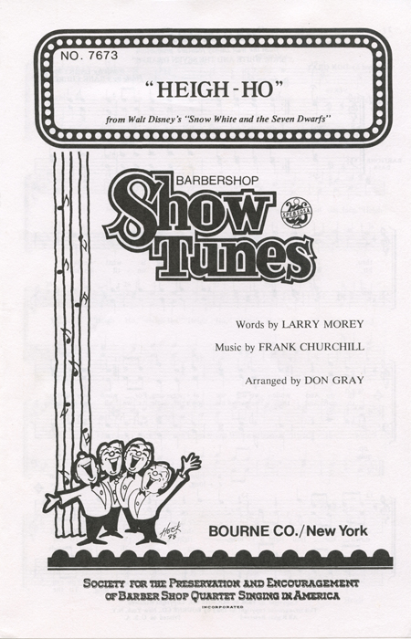 Heigh-Ho : TTBB : Don Gray : Frank Churchill : Snow White and the Seven Dwarfs : Sheet Music : 054847