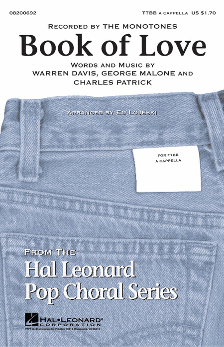 Book of Love : TTBB : Ed Lojeski : Warren Davis : Monotones : Sheet Music : 08200692 : 884088255428