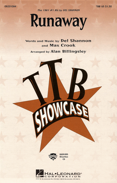Runaway : TBB : Alan Billingsley : Del Shannon, Max Crook  : Del Shannon : Sheet Music : 08201084 : 073999010848