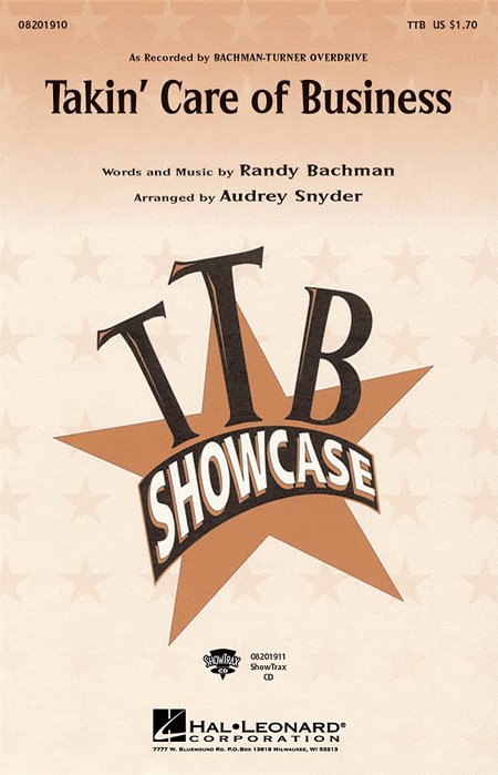 Takin' Care of Business : TTB : Audrey Snyder : Bachman-Turner Overdrive : Sheet Music : 08201910 : 884088060053