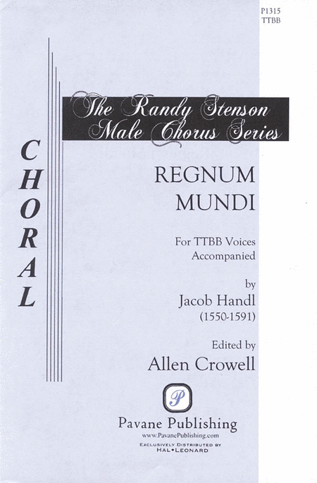 Regnum Mindi : TTBB : Jacob Handl : Sheet Music : 08301806 : 884088136130
