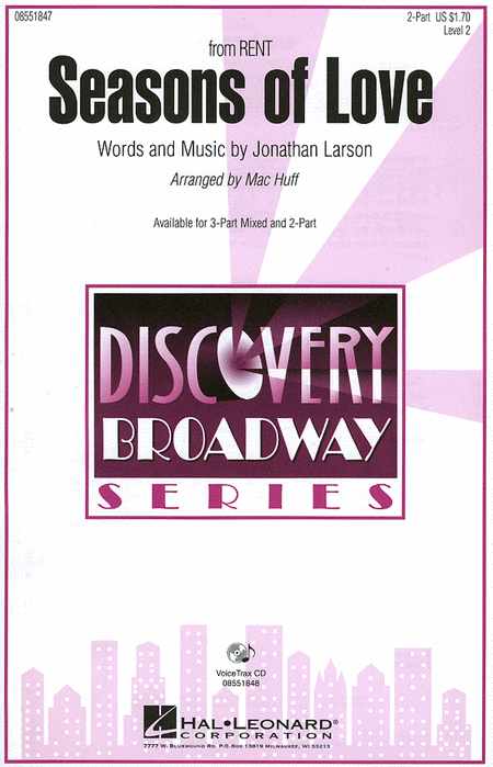 Seasons of Love : 2-Part : Mac Huff : Jonathan Larson : Rent : Sheet Music : 08551847 : 884088026271