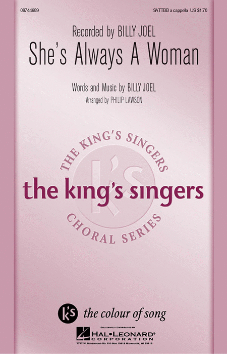 She's Always A Woman : SATTBB : Philip Lawson : Billy Joel : King's Singers : Sheet Music : 08744689 : 073999944457