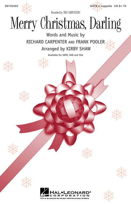 Merry Christmas, Darling : SATB : Kirby Shaw : Richard Carpenter : Carpenters : Sheet Music : 08745403 : 884088064778