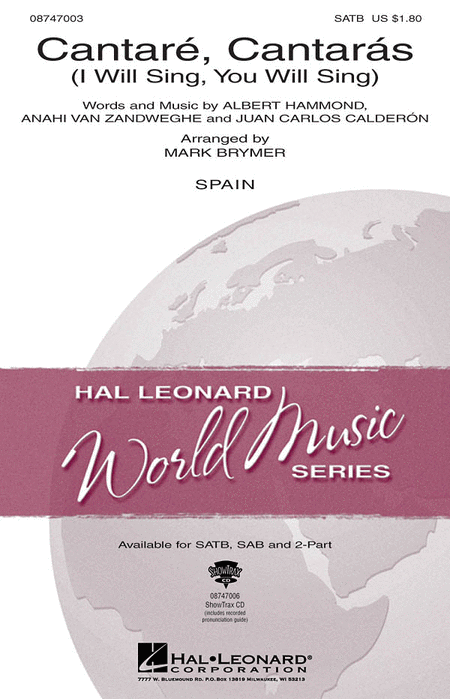 Cantare, Cantaras : SATB : Mark Brymer : Sheet Music : 08747003 : 884088141837