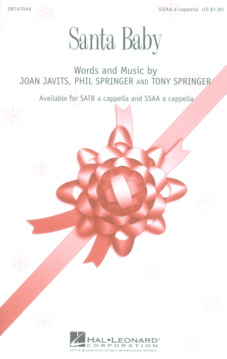 Santa Baby : SSAA : Mark Brymer : Tony Springer : Sheet Music : 08747044 : 884088145217