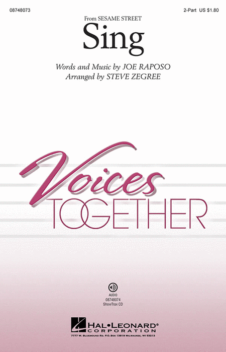 Sing : 2-Part : Steve Zegree : Sesame Street : Sheet Music : 08748073 : 884088213978
