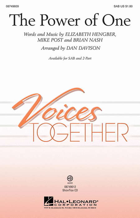 The Power of One : 2-Part : Dan Davison : Sheet Music : 08749610 : 884088311063