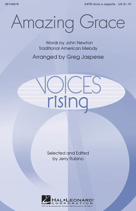 Amazing Grace : SATB divisi : Greg Jasperse : John Newton : Sheet Music : 08749878 : 884088348731