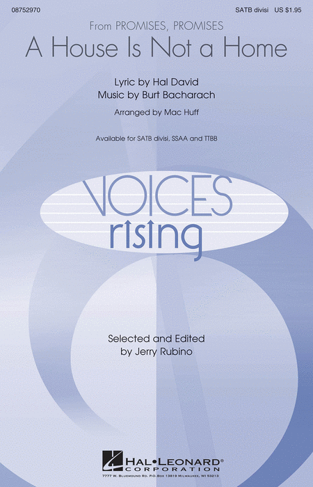 A House Is Not A Home : TTBB : Mac Huff : Burt Bacharach : Sheet Music : 08752972 : 884088558062