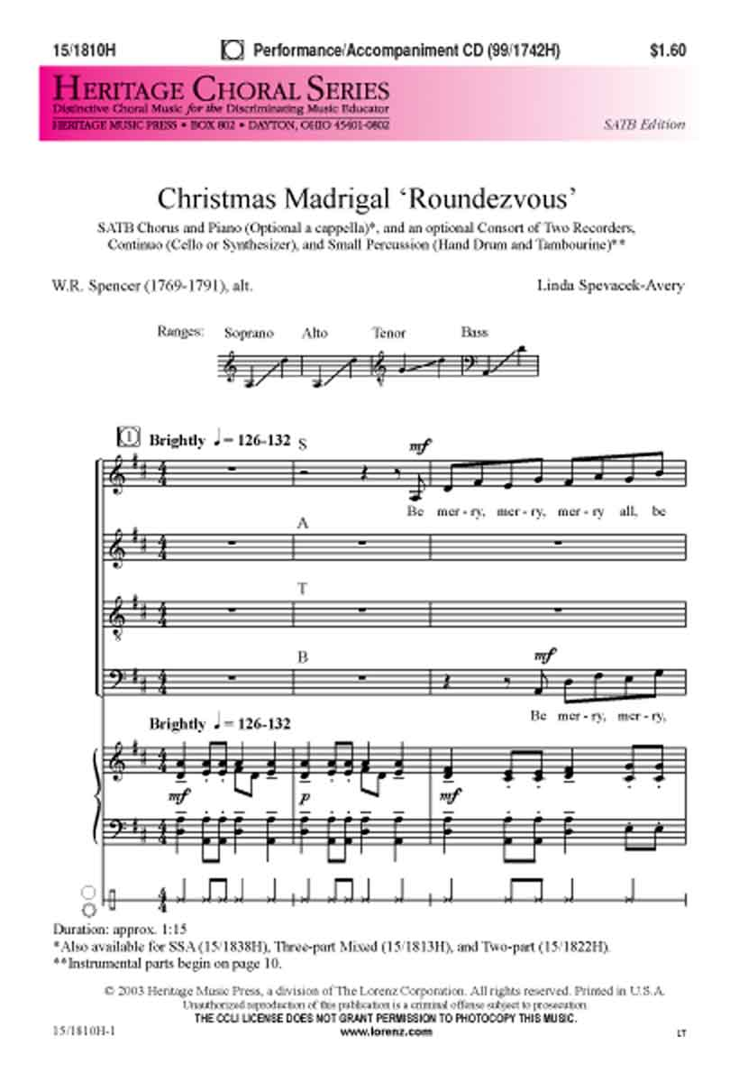 Christmas Madrigal Roundezvous : SATB : Linda Spevacek : Sheet Music : 15-1810H