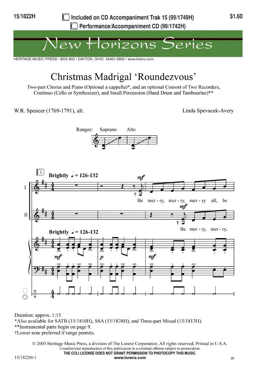 Christmas Madrigal Roundezvous : SA : Linda Spevacek : Sheet Music : 15-1822H