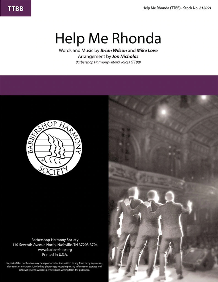 Help Me Rhonda : TTBB : Jon Nicholas : Brian Wilson : The Beach Boys : Sheet Music : 212091
