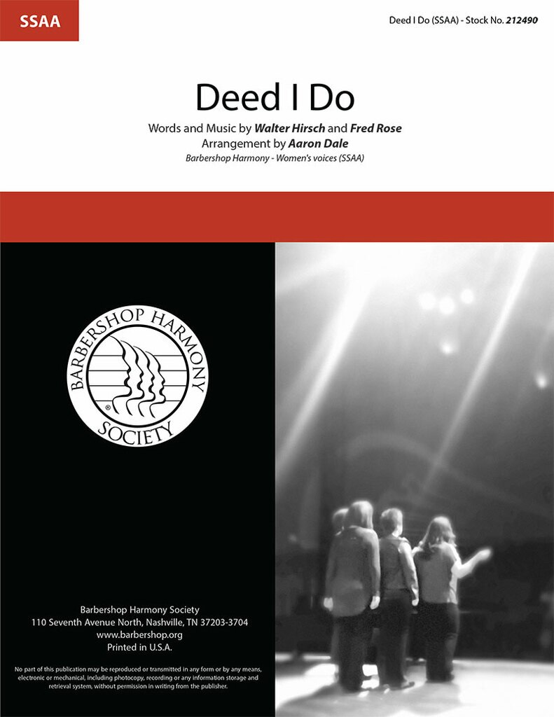Deed I Do : SSAA : Aaron Dale : Fred Rose : Sheet Music : 212490