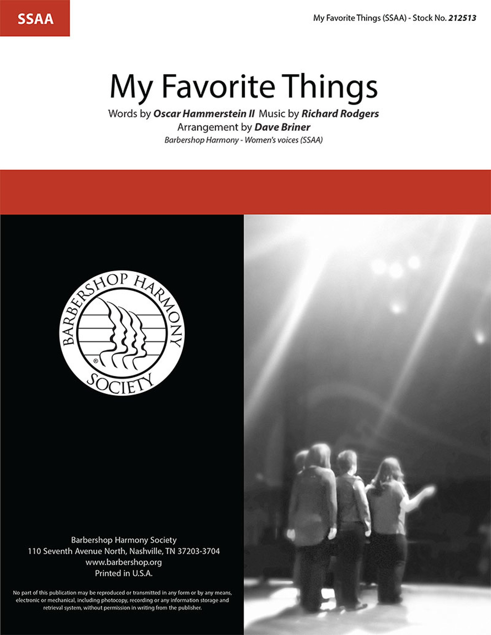 My Favorite Things : SSAA : Dave Briner : Richard Rodgers : The Sound Of Music : Songbook : 212513