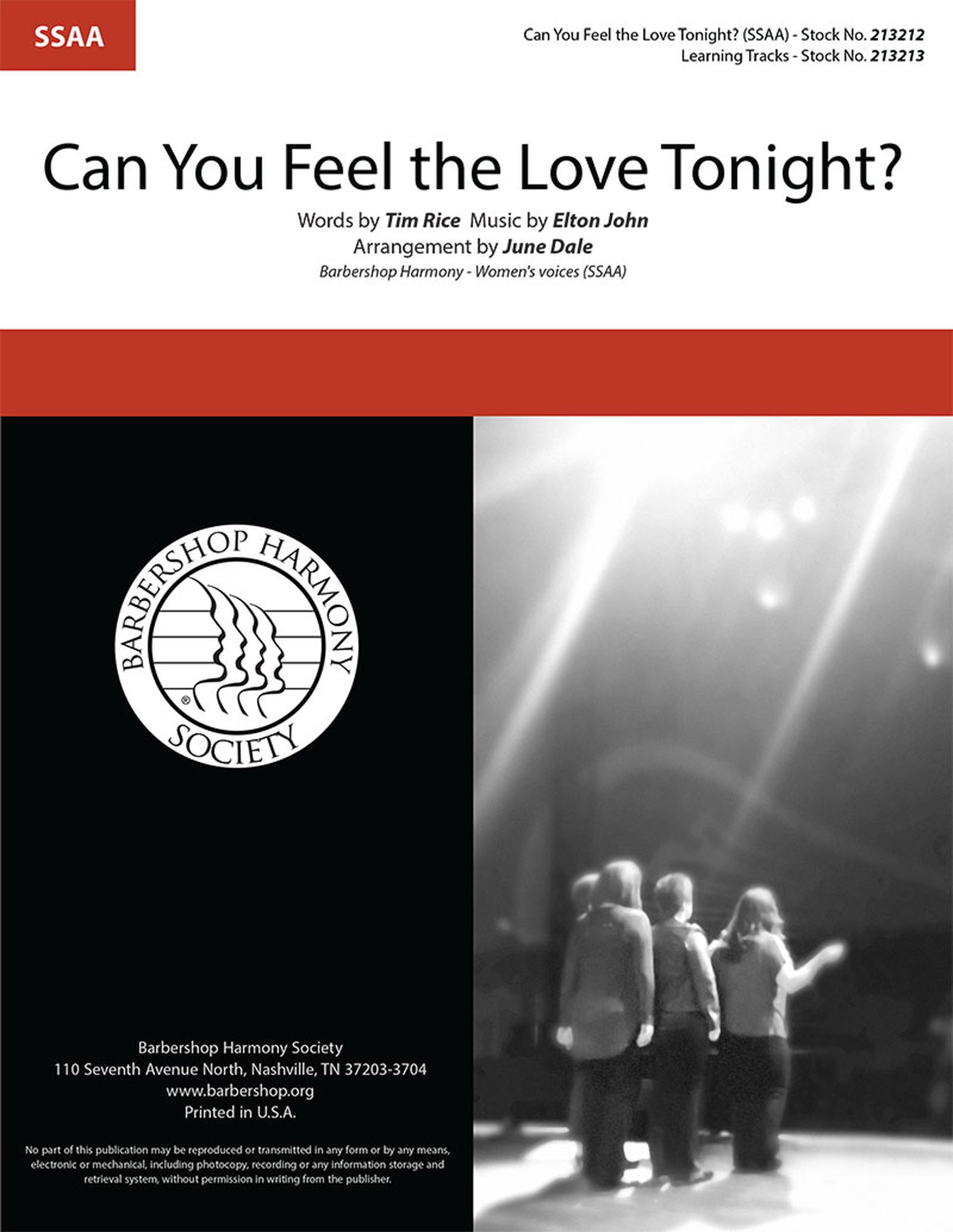Can You Feel the Love Tonight? : SSAA : June Dale : Elton John : The Lion King : Sheet Music : 213212
