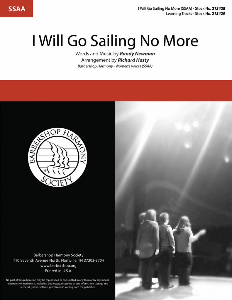 I Will Go Sailing No More : SSAA : Richard Hasty : Randy Newman : Toy Story : Sheet Music : 00362004