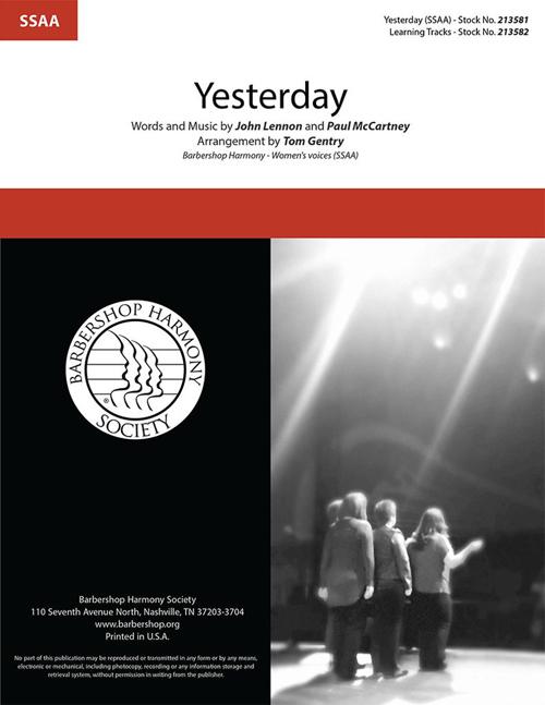 Yesterday : SSAA : Tom Gentry : Lennon / McCartney : The Beatles : Sheet Music : 00337864