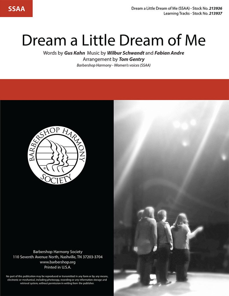 Dream a Little Dream Of Me : SSAA : Tom Gentry : The Mamas and The Papas : Sheet Music : 213936