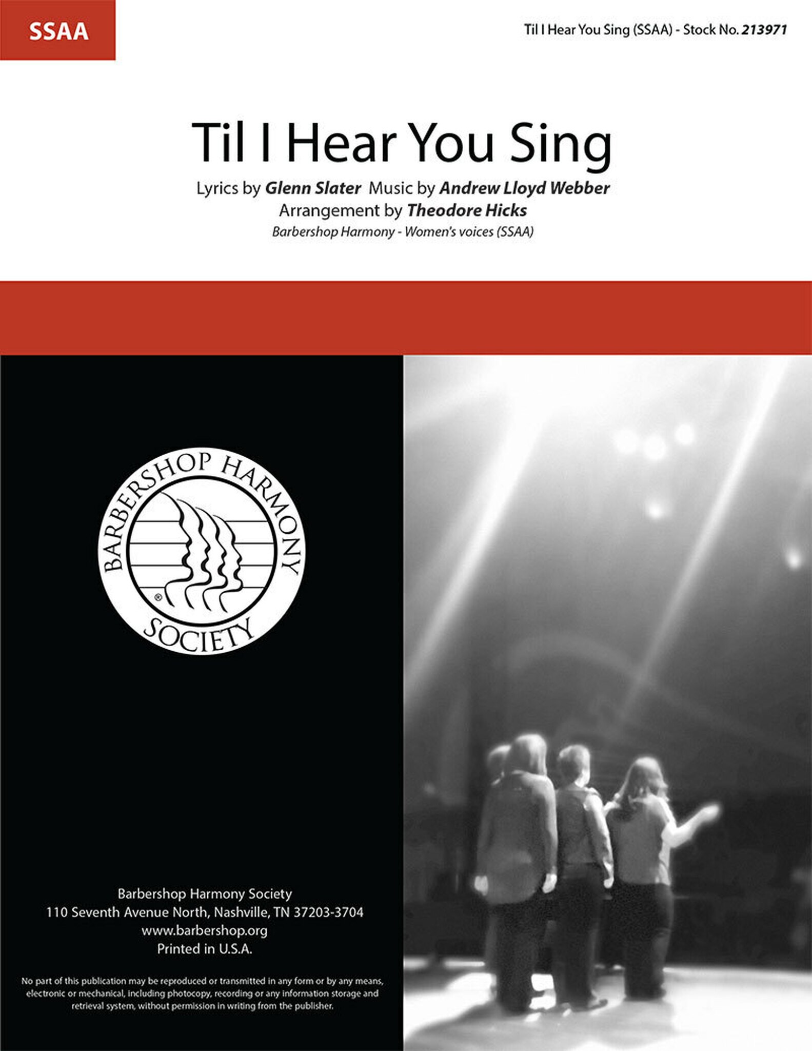 'Til I Hear You Sing : SSAA : Theo Hicks : Andrew Lloyd Webber : Love Never Dies : Sheet Music : 00363317