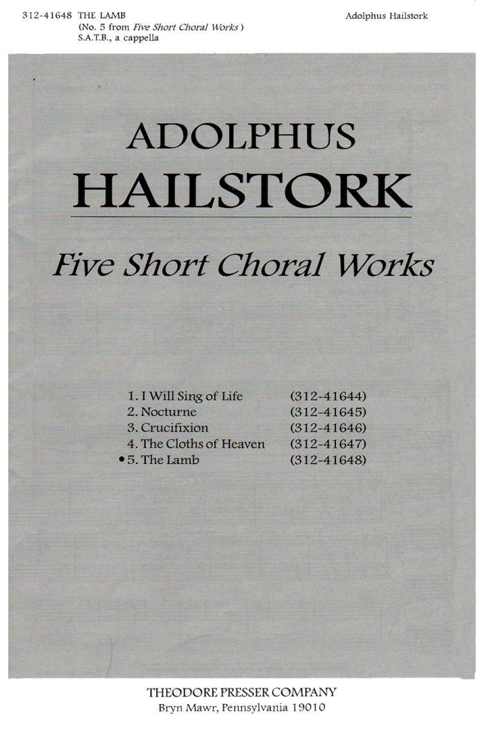 The Lamb : SATB : Adolphus Hailstork : Adolphus Hailstork : Sheet Music : 312-41648