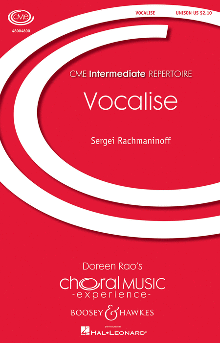 Vocalise Op. 34, No. 14 : Unison : Doreen Rao : Sheet Music : 48004800 : 073999683981
