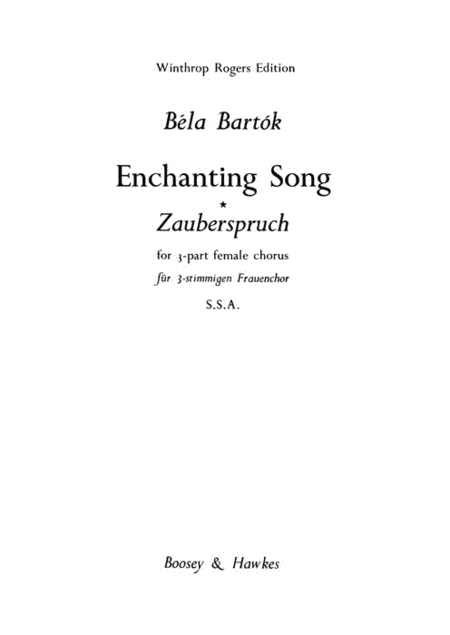 Enchanting Song : SSA : Bela Bartok : Bela Bartok : Sheet Music : 48008760 : 073999670011