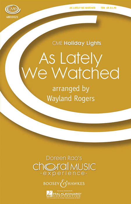 As Lately We Watched : TTB : Wayland Rogers : Sheet Music : 48019121 : 884088040086