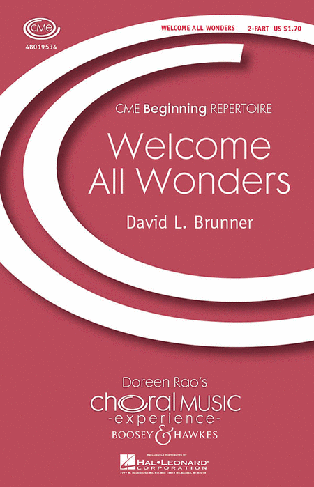 Welcome All Wonders : 2-Part : David L. Brunner : Sheet Music : 48019534 : 884088158033