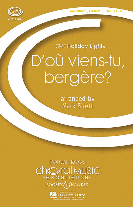 D'ou Viens-tu, Bergere? : SSA : Mark Sirett : Sheet Music : 48019667 : 884088204044