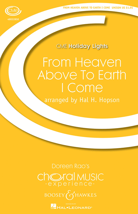 From Heaven Above to Earth I Come : SATB : Hal H. Hopson : J.S Bach : Sheet Music : 48022850 : 884088906399
