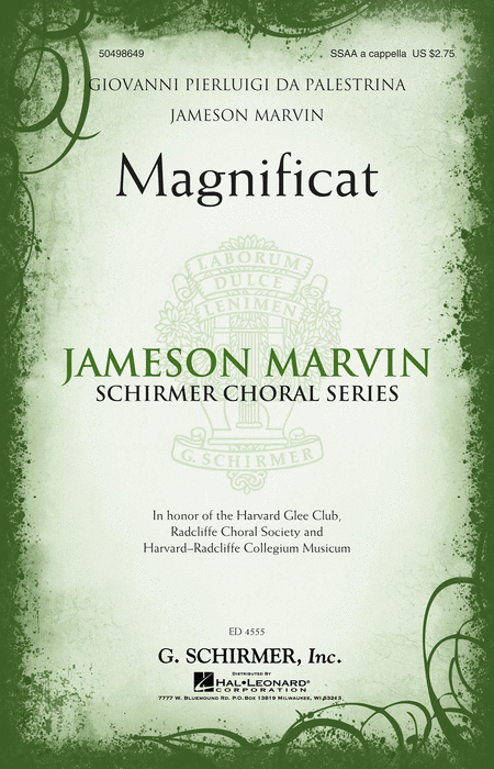 Magnificat : SSAA : Jameson Marvin : Giovanni Pierluigi da Palestrina : Harvard Glee Club : Sheet Music : 50498649 : 884088878504 : 1480312967