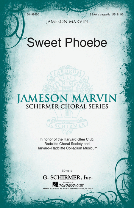 Sweet Phoebe : SSAA : Jameson Marvin : Harvard Glee Club : Sheet Music : 50498650 : 884088878511 : 1480312975