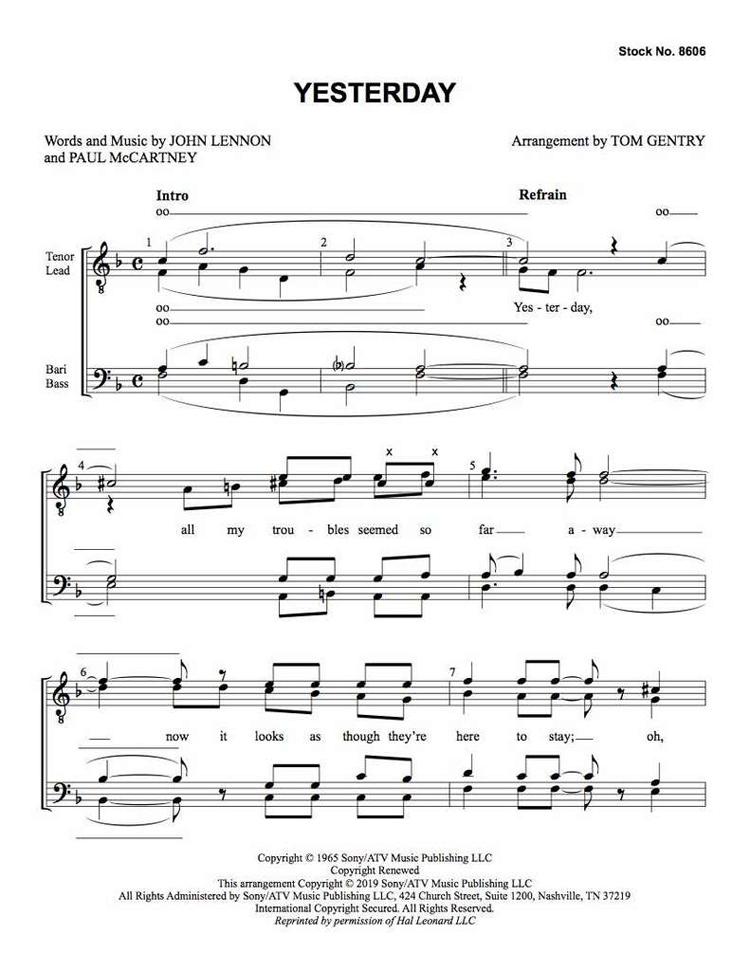 Yesterday : TTBB : Tom Gentry : Lennon / McCartney : The Beatles : Sheet Music : 00337863