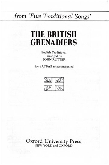 The British Grenadiers : SATB : John Rutter : Sheet Music : 9780193857599