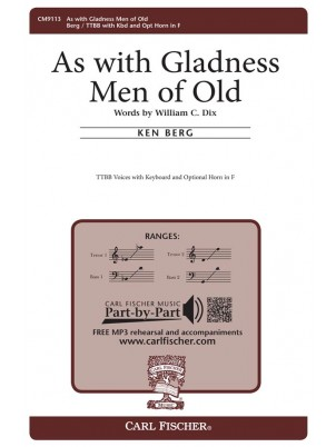 As With Gladness Men Of Old : Men's Chorus : Ken Berg : Ken Berg : Songbook : CM9113
