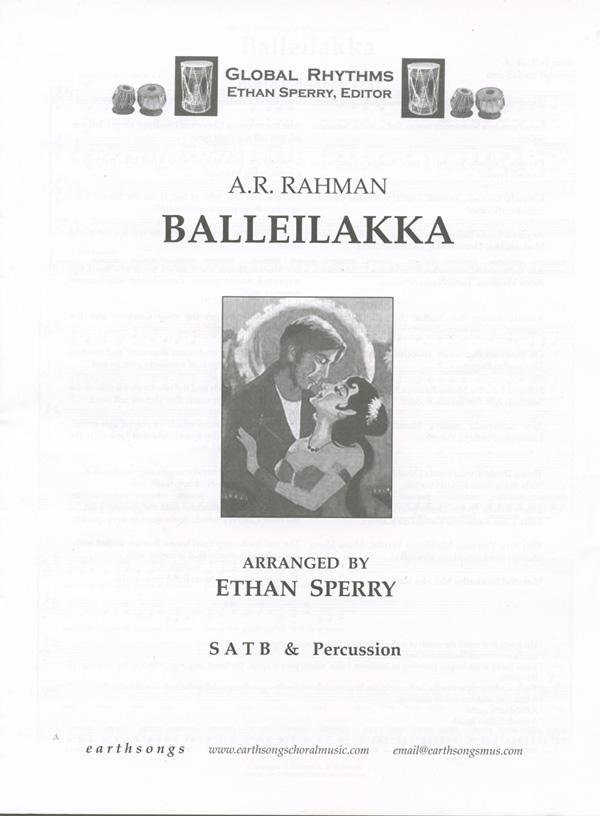 Balleilakka : SATB : Ethan Sperry : A.R. Rahman : Sivaji : Sheet Music : S-339