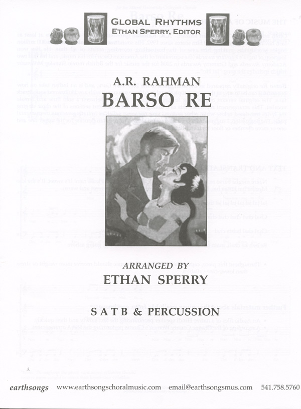 Barso Re : SATB : Ethan Sperry : A.R. Rahman : Guru : Sheet Music : S-386