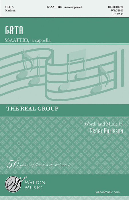 Gota : SATTB : Peder Karlsson : The Real Group : Sheet Music : WRG1016 : 884088392963