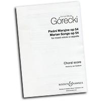 Henryk Gorecki : Marian Songs : SATB : 01 Songbook : Henryk Gorecki : 884088452735 : 48020715
